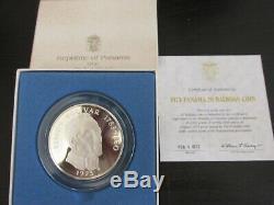 1972 République Du Panama 20 Balboas Silver Proof Withdisplay Case & Coa