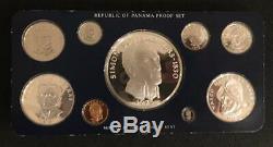 1975 Panama Proof Set Avec 9 Pièces Boîte Originale, Et Coa Affichage De Cas