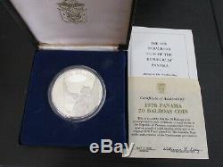 1978 Panama 20 Balboas En Argent Épreuve Numismatique Avec Affichage Cas Et L'aco