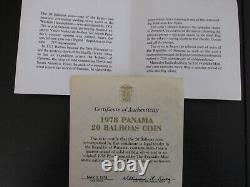 1978 Panama Proof Silver 20 Balboas Avec Vitrine Et Coa
