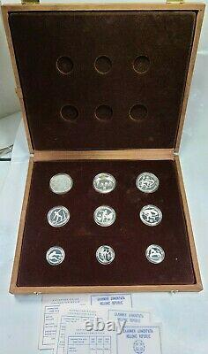 1982 Grèce Olympic Silver Proof 9 Pièce Mise En Vitrine + 3 Aco (4.26ozt)