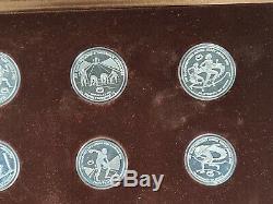 1982 Preuve D'argent Olympique Grèce Commémorative 9 Ensemble De Pièces En Cas D'affichage + Coa