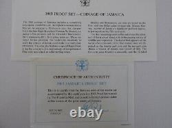 1983 Jamaica Proof Set Avec Le Cas D'affichage Et Le Coa