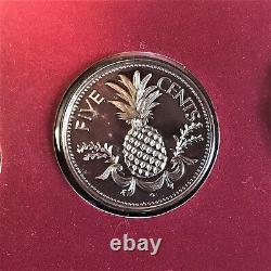 1985 Bahamas 9 Pièce Proof Set Original Display Case & Coa 50% Argent 5 $ Pièce