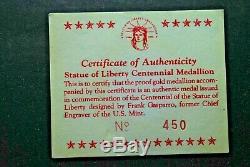 1986 Médaillon Du Centenaire De La Statue De La Liberté En Or, Présentoir, Coa, Boîte