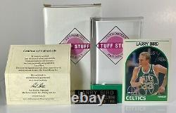 1989 Hoops Larry Bird Celtics Autographe Coa + Nouvelle Vitrine - Plaque Gravée
