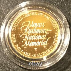 1991-w Proof-mount Rushmore Anniversary $5 Gold Coin-original Display Case & Coa