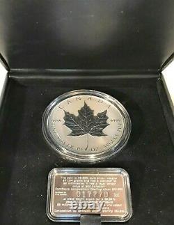 1998 50 $ Canada 10 Oz 99,99 % Pièce D'argent Pur + 92,5 % Coa +belle Vitrine