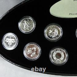 1999 Et 2000 Canada Silver Millennium 12-coin Set Withdisplay Case & Coa