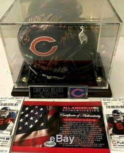 2010 Chicago Bears Équipe Autographié Signé Mini Casque Withdisplay Case & Aaa Coa