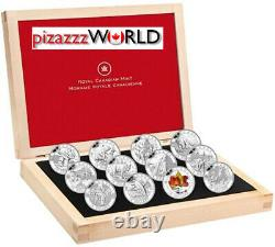2013 Canada 10 $ Full O Canada Silver 12-coin Set With Display Case Withcoa Proof