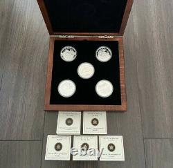 2013 O Canada 25,9999 $ 1oz Fine Silver 5 Coin Set With Coa & Display Case