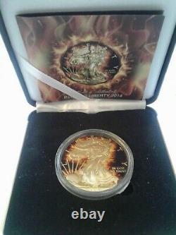 2014 American Silver Eagle Burning Liberty 1oz Argent Dans Le Boîtier D'affichage Avec Coa