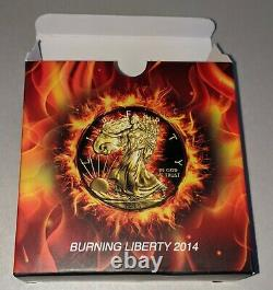 2014 American Silver Eagle Burning Liberty 1oz Silver In Display Case Avec Coa