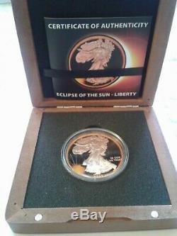 2015 Américain Silver Eagle Eclipse Du Soleil En Bois Vitrine Avec Coa