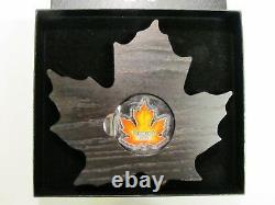 2016 Coloré. 9999 Silver Proof Canadian Maple Leaf Coin Withcoa And Display Case