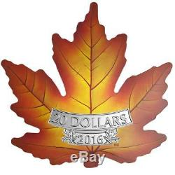 2016 De Couleur. 9999 Feuille Preuve D'argent D'érable Canadien Pièce Withcoa Et Affichage De Cas