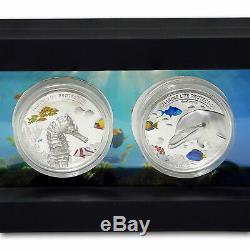 2017 Palau 2-coin Argent 10 $ Marine Life Protection Proof Set Display Case & Coa