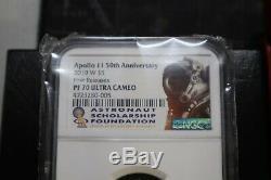 2019 Apollo 11 50e Anniversaire D'or Pièce De 5 $ Ngc Pf 70 Uc Fr Coa & Case D'affichage
