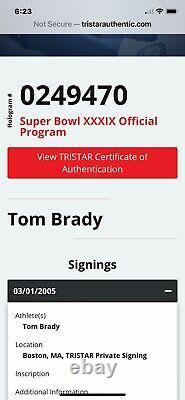 24x36 Tom Brady Auto Encadrée Superbe Programme Tristar Coa