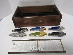 6 Different Franklin Mint Harley Davidson Couteaux Avec Vitrine 2 Coa