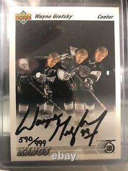 91-92 Upper Deck Wayne Gretzky Vitrine Avec Carte Automatique Et Rondelle Aveccoa 590/999