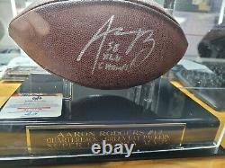 Aaron Rodgers Autographié Football Sb XLV Champ Avec Coa Et Vitrine