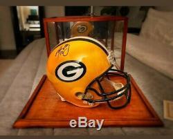 Agréable! Aaron Rodgers Signé Packers Full Size Casque W Présentoir & Coa