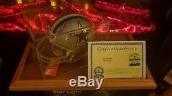 Agréable! Troy Aikman Signé Cowboys Mini Casque W Coa & Case D'affichage