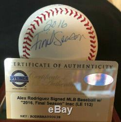 Alex Rodriguez Autographed Steiner Bb & Withcoa Vitrine 2016 Saison Final