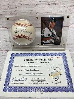 Alex Rodriguez Autographié Baseball Avec Coa Et 1994 Sp Rookie Card Avec Boîtier D'affichage
