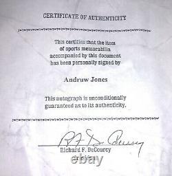 Andruw Jones Signé Rawlings Pro Ring Baseball Bat Avec Coa & Clear Display Case