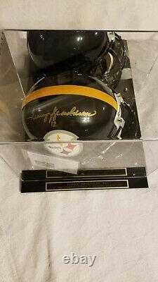 Autographe Casque De Football Pleine Grandeur Terry Bradshaw Avec Vitrine Et Coa
