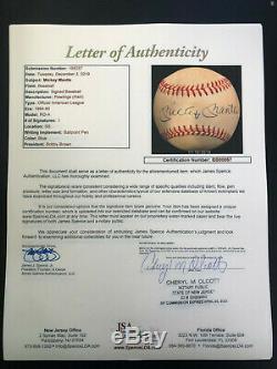 Autographed Baseball Manteau Ny Yankees Mickey Jsa Coa Vitrine