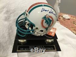 Autographed Don Shula, Miami Dauphins Mini Casque Withcoa Et Vitrine