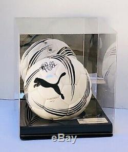 Ballon De Football Puma Brésil Autographié Et Signé Par Steiner Coa (avec Vitrine)