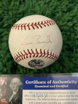 Barry Bonds Signé Baseball Psa Coa Wood/glass Display Case Inclus