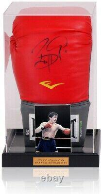 Barry Mcguigan Main Signée Boxing Glove Display Acrylique Cas Aftal Coa