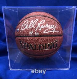 Bill Russell Celtics Signé Autographié Spalding Basketball Coa Et Vitrine