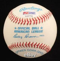 Bob Feller Signé Oal Baseball Inscribed H. O. F'62 Avec Affichage De Cas Psa Coa