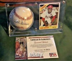 Bob Gibson Autographié Psa / Dna Assermentée Baseball Withcard & Display Cas Coa