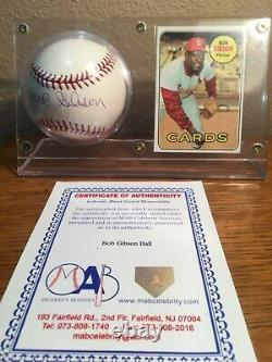 Bob Gibson Hand Signed & Authenticated Baseball Withcard, Display Case And Coa