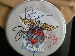 Bon Jovi @ Band Signed Guitar Drum Head Withpick, Display Cas Avec Coa Awesome