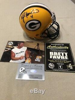 Brett Farve Signé Mini Casque Withcoa Green Bay Packers Personnalisé Vitrine