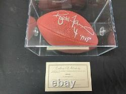 Brett Favre Mvp NFL Jeu Problème Autographed Football Et Affichage Cas Avec Coa