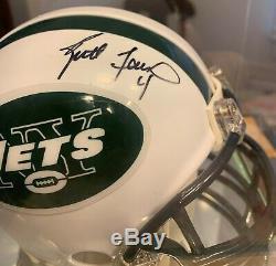 Brett Favre New York Jets Autograghed Mini Helmut Withdisplay Case Coa Mint