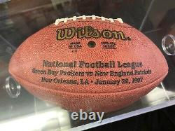 Brett Favre Super Bowl XXXI Game Issue Autographed Football And Display Case Coa
