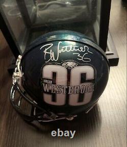 Brian Westbrook A Autographié Philadelphia Eagles Mini Casque Coa & Display Case