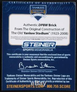 Brique Authentique Du Stade Original Yankees Avec Display Case & Steiner Coa