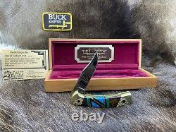 Buck David Yellowhorse 112 Couteau À La Menthe Pronghorn Dans Le Boîtier D'affichage Coa